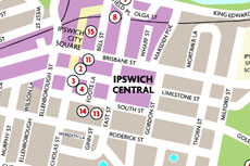 Ipswich Central Map